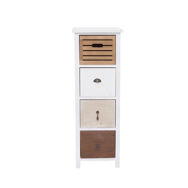 Mobili Rebecca Meuble à colonne à tiroirs chevet blanc 4 tiroirs coloré 89x31x27