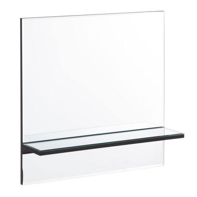 Tousmesmeubles Miroir carré étagère Verre - Zarico