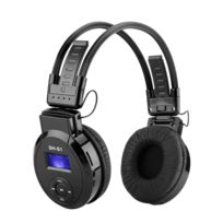 Shopinnov - Casque lecteur Mp3 pliable Carte Sd Radio Fm Ecran Lcd Batterie rechargeable