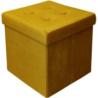 NO NAME - Pouf coffre carré en velours synthétique capitonné