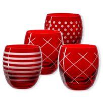 Bruno Evrard - Gobelets bas taillés couleur rouge 30cl - Lot de 4 - Quorus