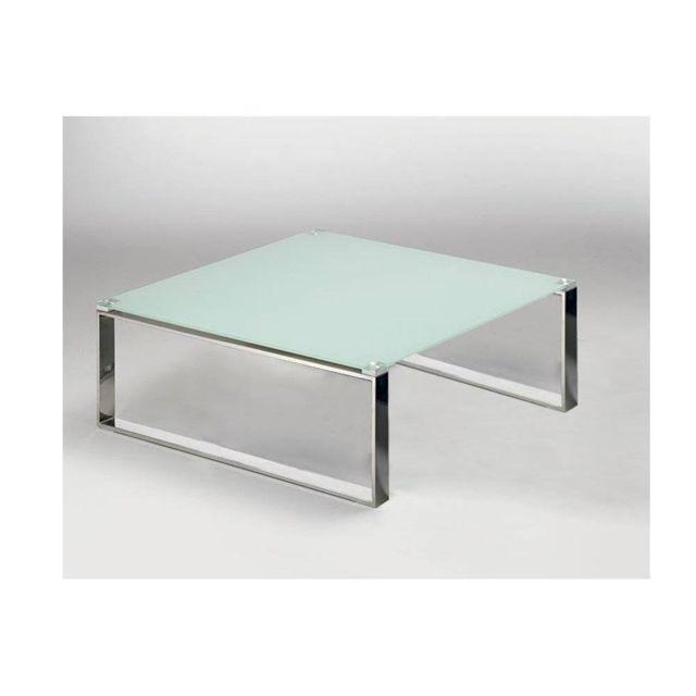 Inside 75 Table basse carrée Zoe en verre blanc