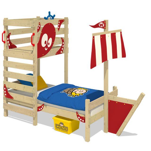 WICKEY Lit en bois pour enfant CrAzY Bounty Lit simple - rouge