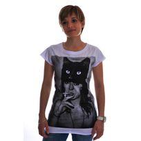 Spital Fields London - Tee shirt black cat coton blanc