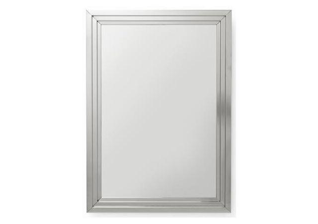 Declikdeco Comme plus, le Miroir Steel Step argenté 105x75cm mise sur ses rebords en escalier pour créer un reflet très particulier