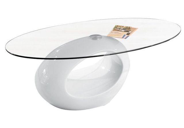 Comforium Table basse blanche laqué avec plateau de verre