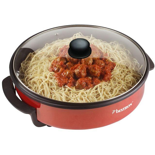 BESTRON - Poêle électrique multifonction pour paëlla / pizza Ø 40cm avec thermostat amovible 1500W en rouge + recettes