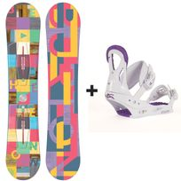 Burton - Pack Snowboard Feather Femme + Fixations Stiletto Disc