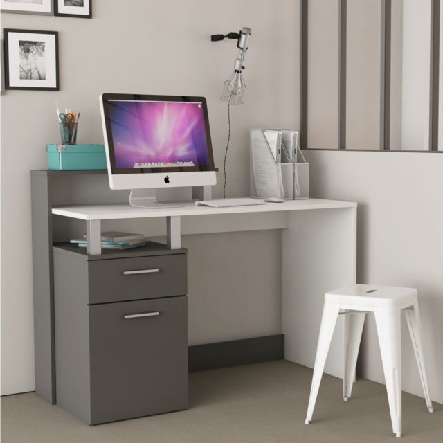 TERRE DE NUIT Bureau design blanc et gris graphite
