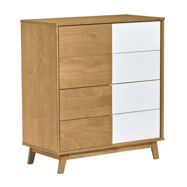 Tousmesmeubles Commode 4 tiroirs Blanc/Bois - Janette