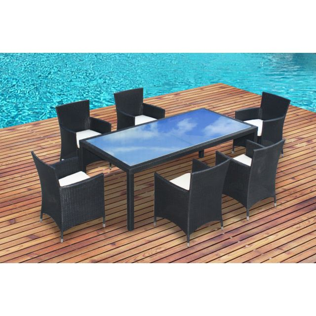 CONCEPT USINE - SALON DE JARDIN TABLE + 8 FAUTEUILS EN ...