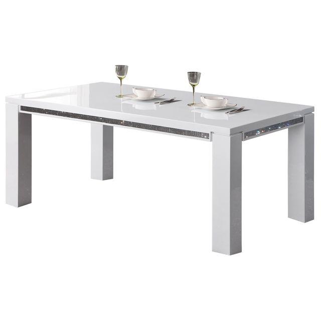 Comforium Table à manger 180 cm design blanc laqué avec strass