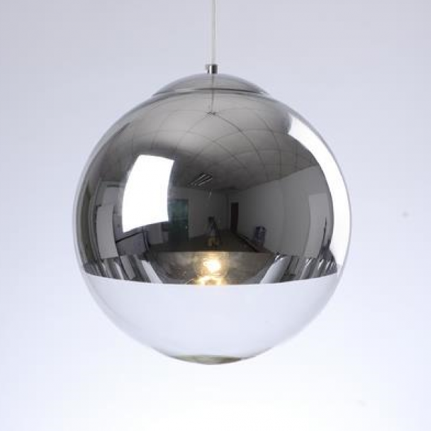 Kosilum Suspension boule verre transparent - Globe 30 cm