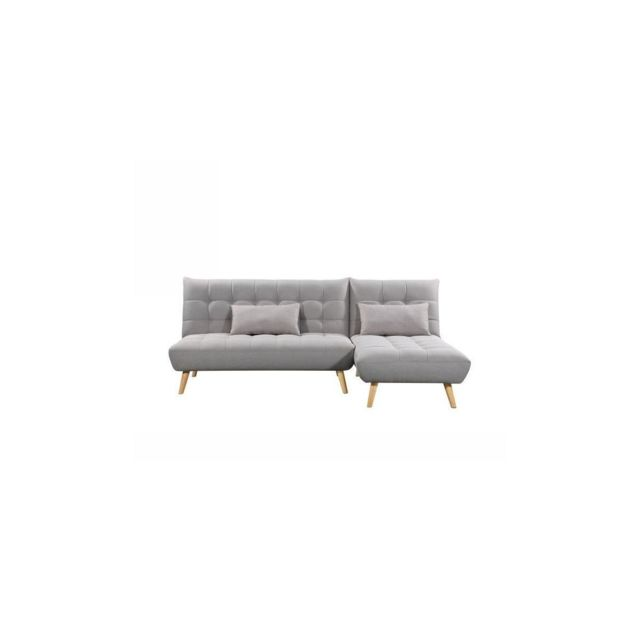 Sans Marque Jonas Canape Dangle Reversible Convertible 3/4 Places - Tissu Gris - Scandinave - L 224 X P 86 / 136 Cm