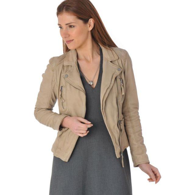 Blouson cuir femme beige clair