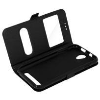 Avizar - Housse Acer Liquid Z6 Etui Double Fenêtre Coque Silicone Gel - noir