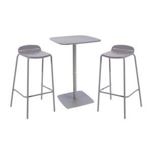 HYBA - Ensemble 1 table et 2 tabourets de bar de jardin OPTIMISTIC ...