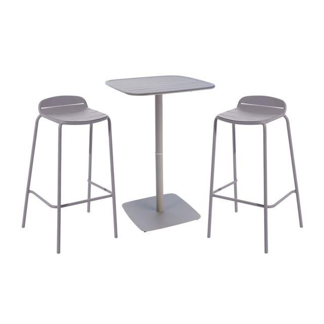100% authentique 2af33 adc4a HYBA - Ensemble 1 table et 2 tabourets de bar de jardin ...