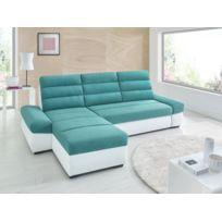 Sofa Story - Canapé d'angle convertible Bimbo Blanc / Turquoise