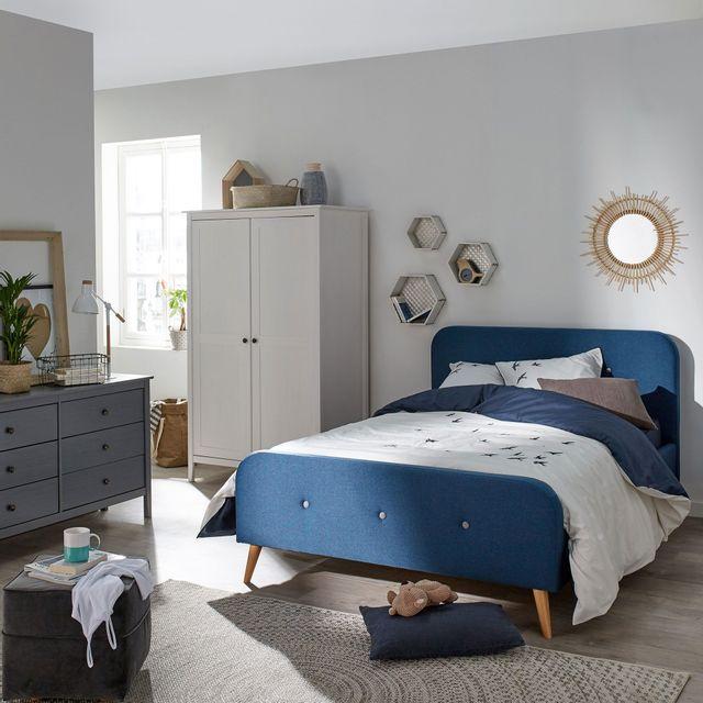alin a agnes lit 2 places bleu en pin avec t te de lit 140x200cm pas cher achat vente. Black Bedroom Furniture Sets. Home Design Ideas