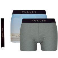 Pull-in - Pull In Coffret de 2 Boxers Homme Microfibre Packgift P18 Vert et Porte clés
