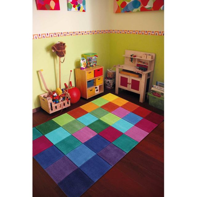 smart kids tapis pour enfants chambre smart square multicolore pas cher achat vente tapis. Black Bedroom Furniture Sets. Home Design Ideas