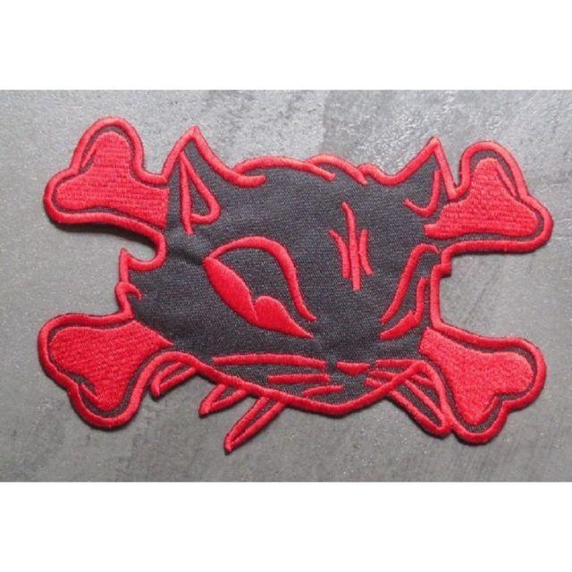 Universel gros patch chat pirate noir rouge dos 19,5cm ecusson pinup