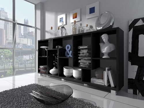 Home Innovation - Étagère bibliothèque design Salon-Salle à manger, Noir mate, Dimensions : 68,5 x 161 x 25 cm de profondeur