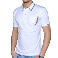 Stef Wear - Polo Manches Courtes - Homme - 705 Leopard - Blanc
