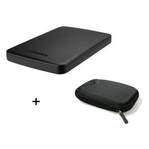TOSHIBA - Canvio Basics 3 To Noir + Housse universelle pour disque dur externe 2,5 pouces - CHEVRON HD