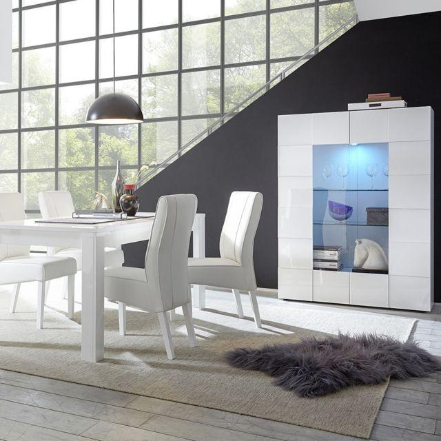 Kasalinea Vaisselier blanc laqué brillant Dominos