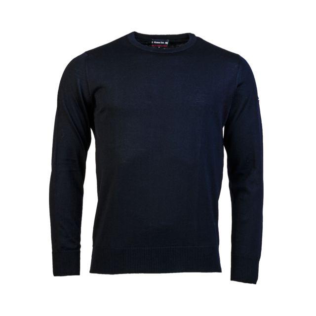 ARMOR-LUX Pull col rond Armor Lux Damgan en laine bleu marine