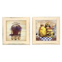 Revimport - Dessous de Plat bois x 2 carreaux décors Provence
