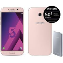 Galaxy A5 2017 - Rose + Fast Charging Battery Pack 5200 mAh - Argent