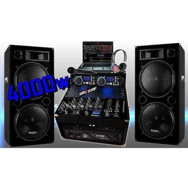 Ibiza Sound Sono complète 4000w avec enceintes sono ampli double lecteur cd mixage micro dj casque - la totale pa dj