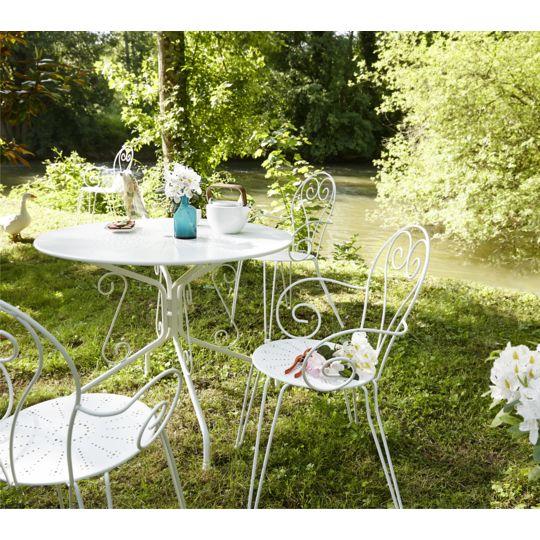 Table de jardin ronde romantique - Blanc à Prix Carrefour