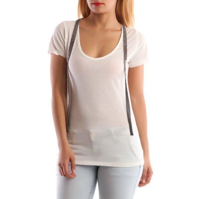 Lamodeuse - T-shirt chiné avec bandes strass blanc - pas cher Achat ... 2fe7ceab950