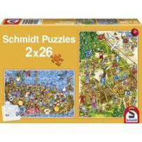Schmidt - Puzzle 2 x 26 pièces - Chez les vikings