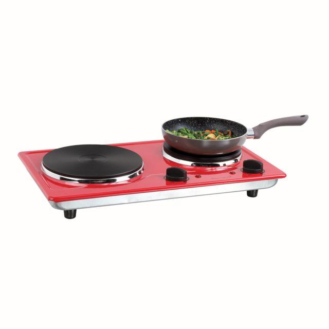 DOMOCLIP Plaque cuisson électrique rouge double DOC168R