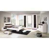 Price Factory   Chambre à Coucher Complète Dublin Adulte Design Blanche.  Lit 160x200 Cm +