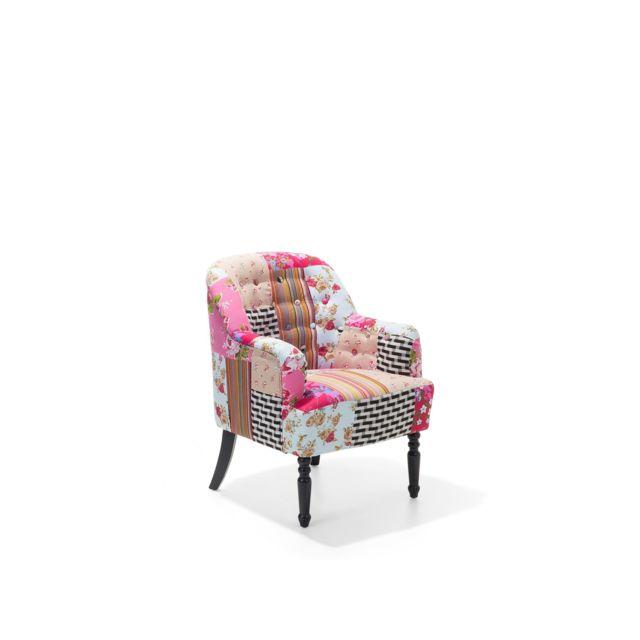 BELIANI Fauteuil patchwork fauteuil en tissu multicolore MANDAL - coloré
