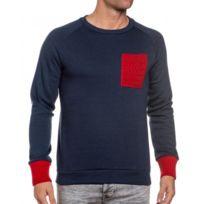 French Kick - Sweat bleu homme poche et poignets rouge