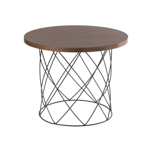 Homemania Table Basse Annis - pour Salon, Canapé - Noyer Foncé, Noir en Bois, Métal, 60 x 60 x 45 cm