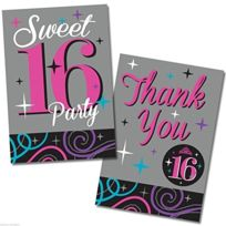 "Falksson - Cartons D'INVITATION Et De Remerciements ""SWEET 16 Party"" 40 Pcs"