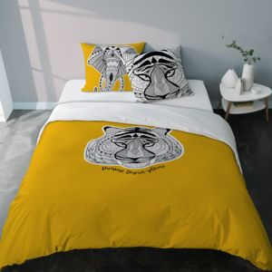 selene et gaia parure housse de couette tigre et l phant totem jaune curry revers uni pas. Black Bedroom Furniture Sets. Home Design Ideas