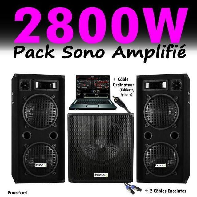 Ibiza Sound Sono dj pack 2800w cube 1512 avec caisson amplifiée - encentes - cables hp et pc led pa dj led light sound sport fitness