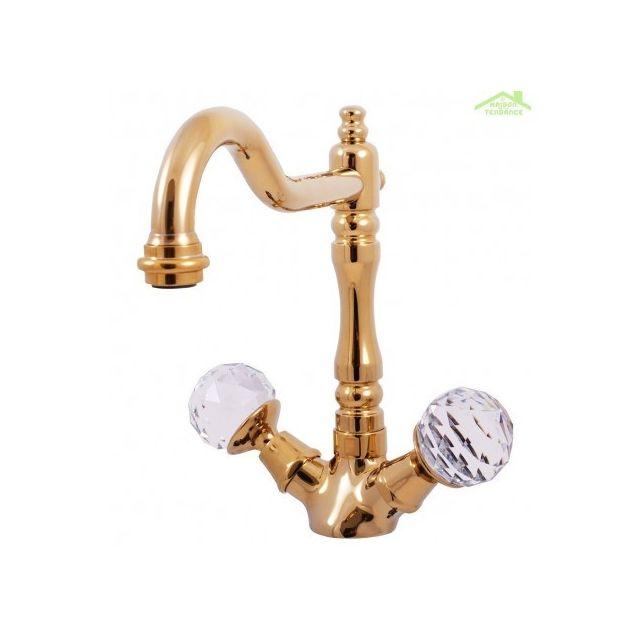 Mélangeur lavabo rétro Brillance avec poignée en cristal de Swarovski en  chrome, laiton ou or