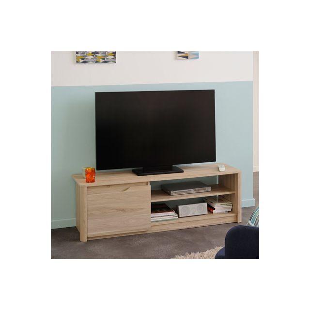Banc Tv 1 porte 136x42x40cm coloris chêne - Larzac