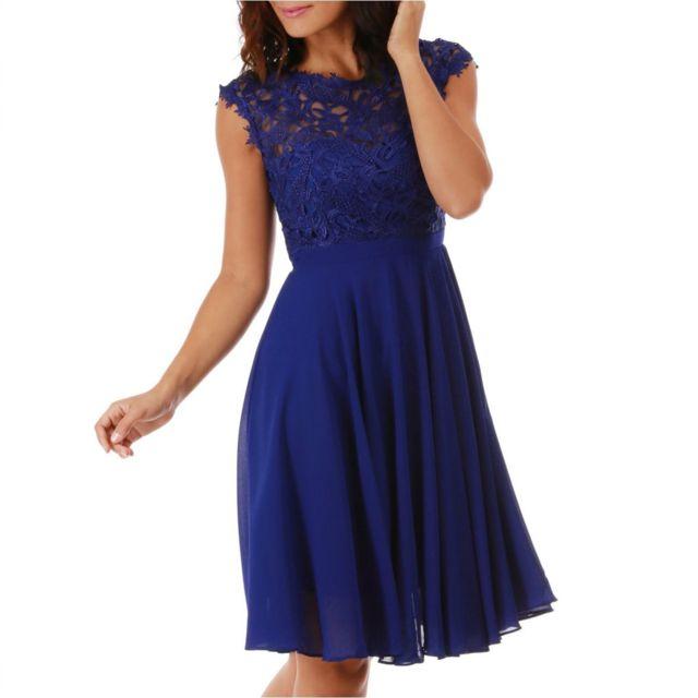 819ccdda87 Lamodeuse - Robe bleue avec dentelle - pas cher Achat / Vente Robes ...