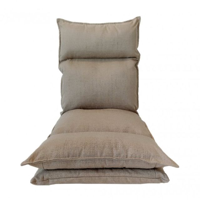Chaise De Sol Metal Beige Polyester Relaxante Inclinable Salon